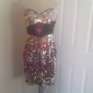 Tony bowls sequin strapless evening dress gown